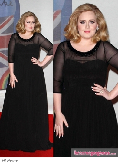 Adele in Custom Burberry Black Gown