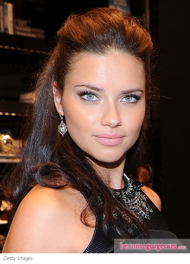 Adriana Lima Half Up Hairstyle