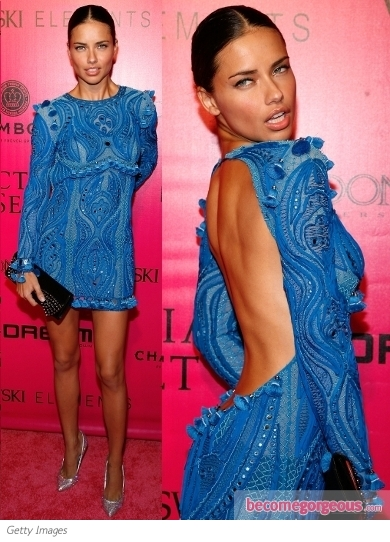Adriana Lima in Pucci Blue Embroidered Dress