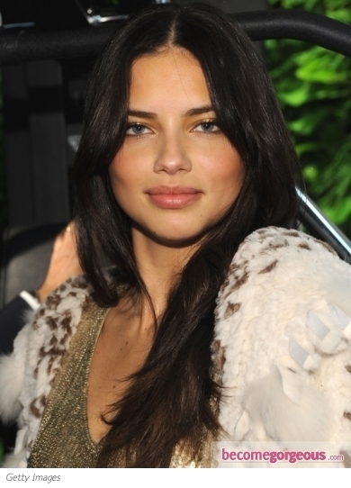 adriana lima hair 2011. Adriana Lima Dark Brown Hair