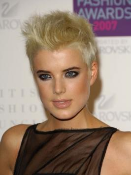 After chopping off her locks into an extra short hairstyle, English model/singer/actress Agyness Deyn bleached her hair into a platinum hue with a lemon tinge that suits her perfectly.