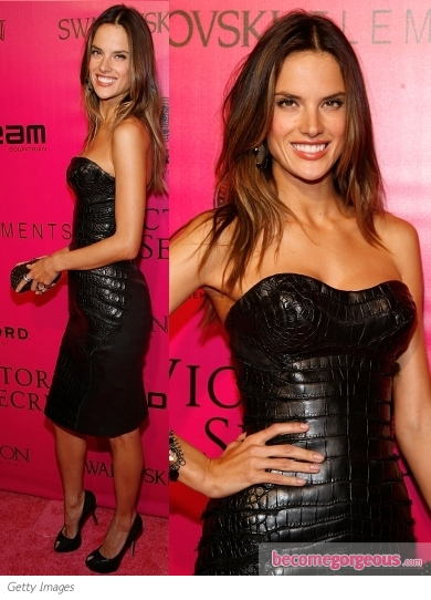 Alessandra Ambrosio in Black Leather Dress