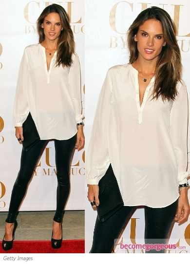 Alessandra Ambrosio in White Tunic and Leggings