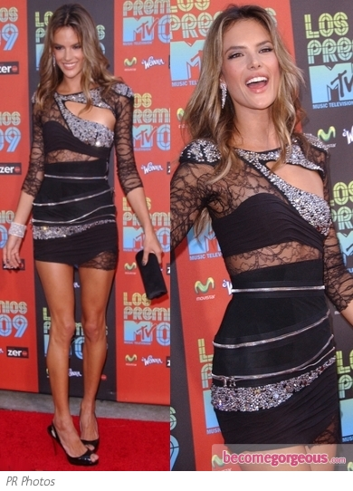 Alessandra Ambrosio in Balmain Cut-Out Dress
