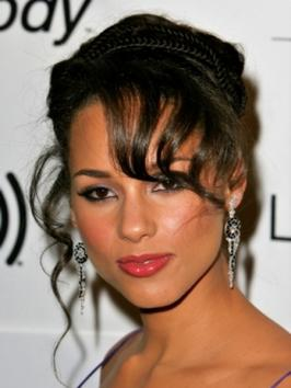 Alicia Keys Curly Updo with Braids