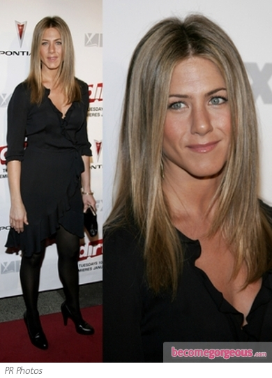 Jennifer Aniston in Black Wrap Dress