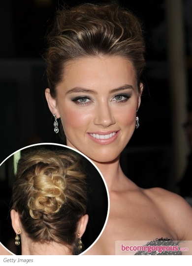 Amber Heard Twisted Chignon Updo