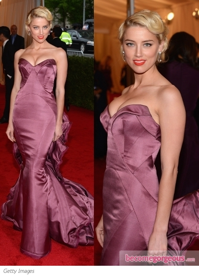 Amber Heard in Zac Posen Gown