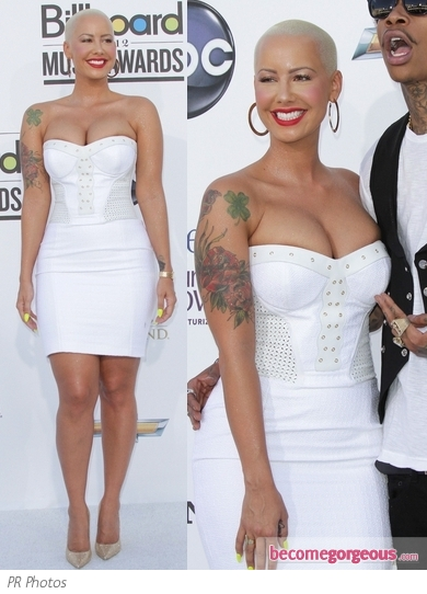 Amber Rose in White Corset Mini Dress