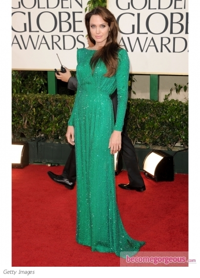 Angelina Jolie in Atelier Versace. 2011 Golden Globe Awards pictures