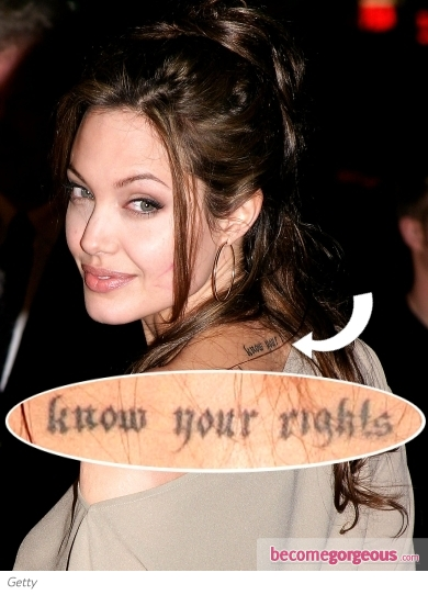 Angelina Jolie Nape of the Neck Tattoo