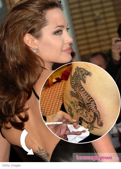 Angelina Jolie Lower Back Bengal Tiger Tattoo