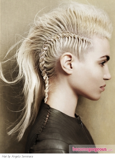 Make a smashing statement with a similar braided Mohawk hair style and show