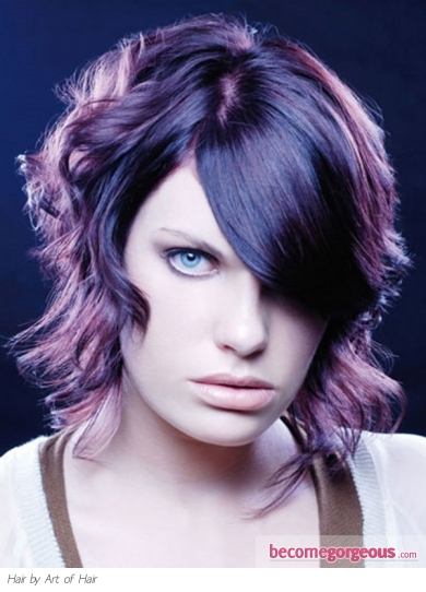 Medium Curly Purple Hair Style
