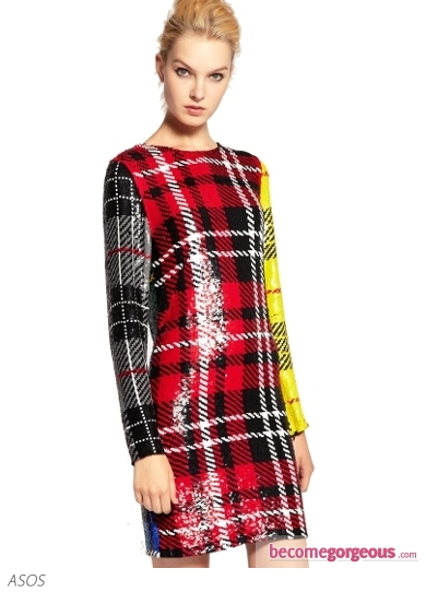 Ashish Dress In Sequin Clash Tartan