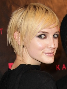 Ashlee Simpson reveals her inner vixen with her platinum blonde crop with lengthy bangs that covers one eye.  Her bob has been parted on the side, then combed forward, starting from far back on the head. Her long bang hugs her face, while the opposite side is pushed back behind the ear.