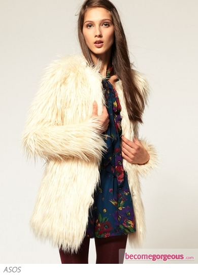 Collarless Coat In Shaggy Faux Fur