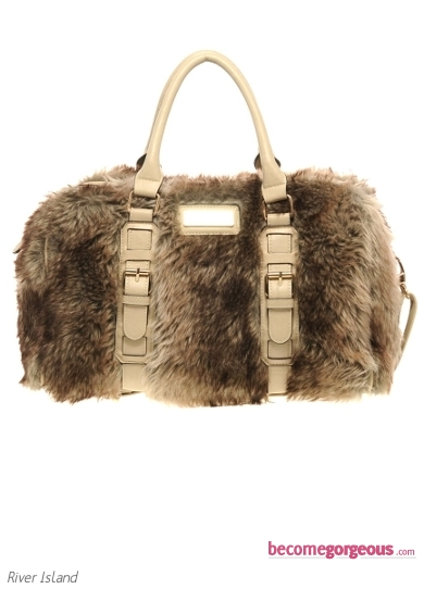 Faux Fur Barrel Bag