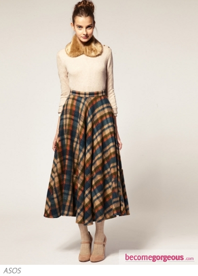 ASOS Midi Skirt in Oversized Check