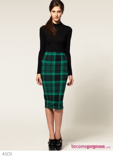 ASOS Pencil Skirt in Green and Black Check