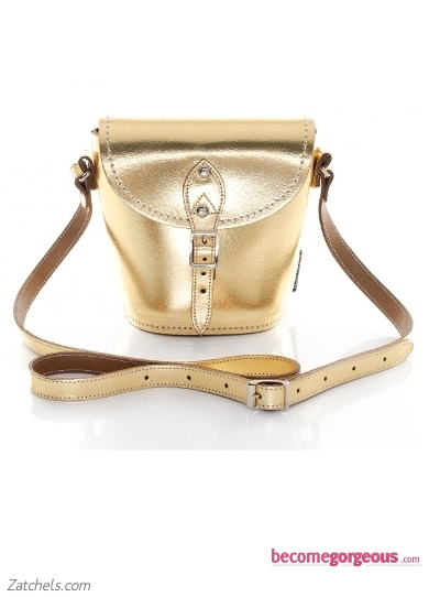 Gold Metallic Leather Barrel Bag