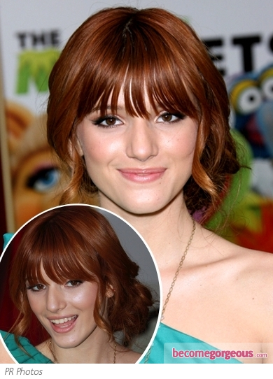 Bella Thorne Side Bun with Bangs