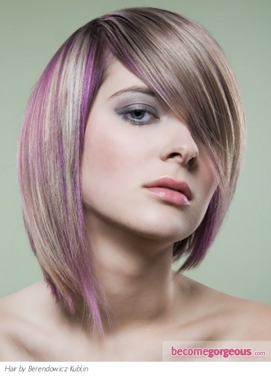 golden blonde highlights in black hair. Purple Hair Highlights