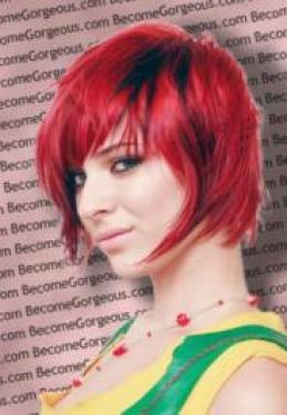 Short Razored Red and Black Hairstyle