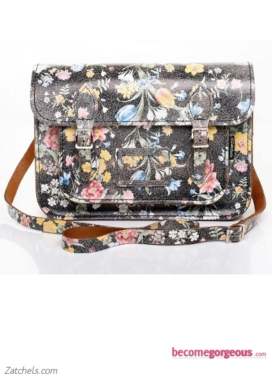 Black Satchel with Large Floral Pattern
