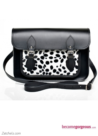 Black Leather with Snow Leopard Faux Fur Satchel