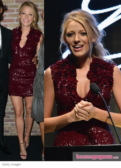 Blake Lively in Gucci Burgundi Mini Dress