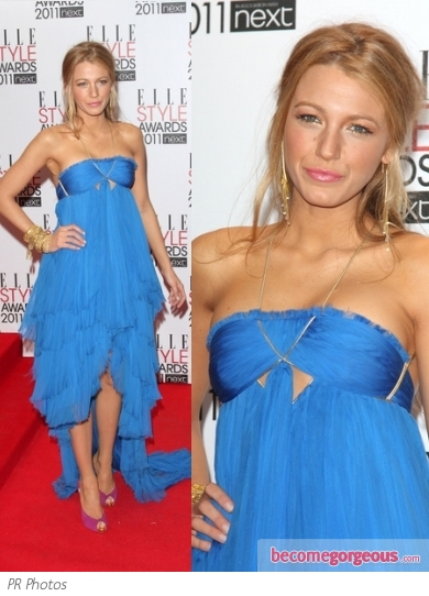 Blake Lively in Blue Pucci Dress