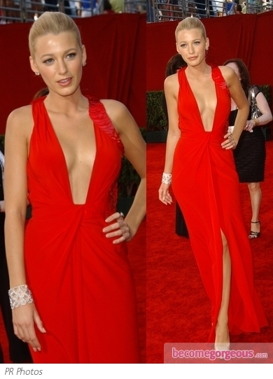 Blake Lively in Red Versace Gown