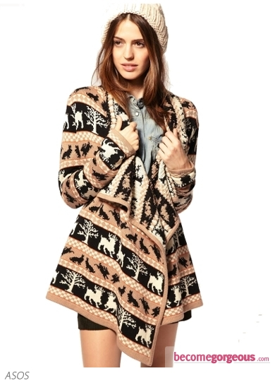 Blanket Wrap Cardigan With Woodland Creatures