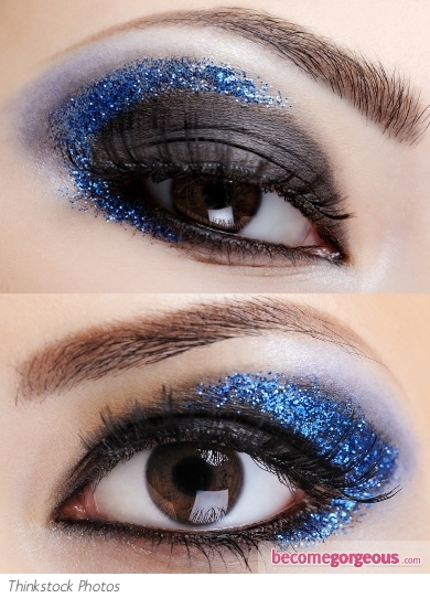 Blue Glitter Eye Makeup Look