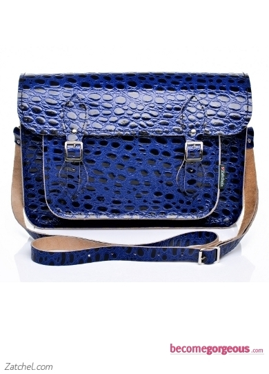 Blue Reptile Print Leather Satchel