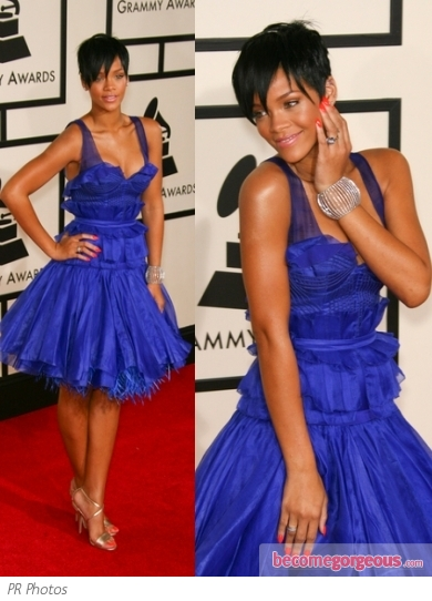Rihanna in Zac Posen Blue Dress
