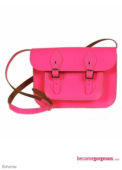Small Neon Pink Leather Satchel Bag