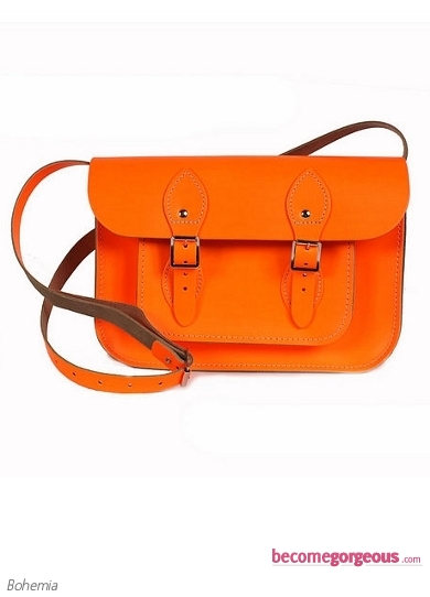 Small Neon Orange Leather Satchel Bag