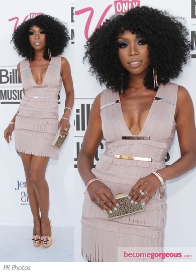 Brandy in Herve Leger Fringe Mini Dress