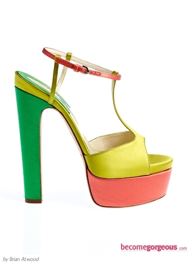 Brian Atwood Block-Colored Platform Sandals