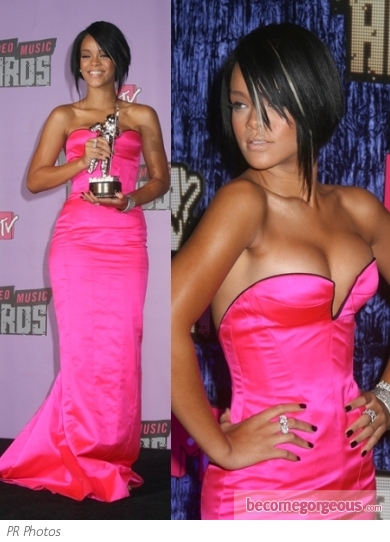 Rihanna in Armani Prive Bright Pink Gown