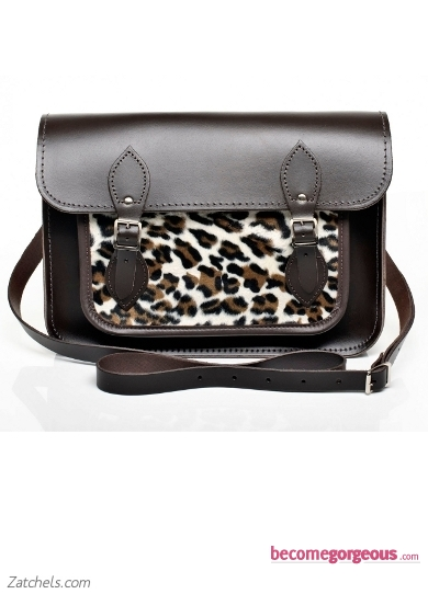 Brown Leather with Cheetah Faux Fur Satchel