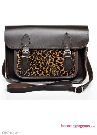 Brown Leather with Leopard Faux Fur Satchel