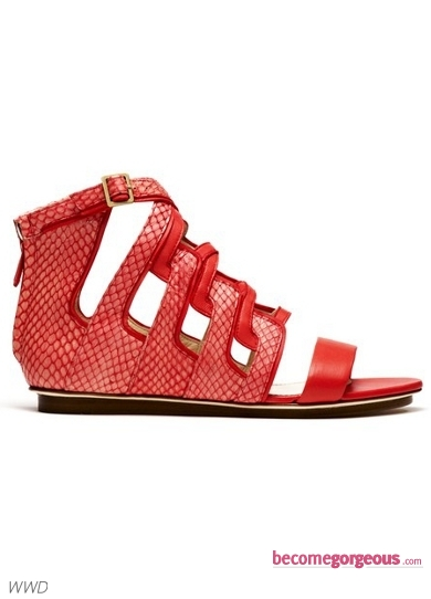 Burak Uyan Red Flat Sandals