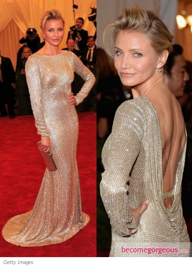 Cameron Diaz in Stella McCartney Metallic Gown