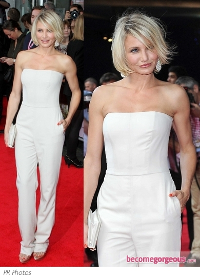 Cameron Diaz in Stella McCartney White Jumpsuit