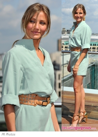 Cameron Diaz in Akris Shirt Dress