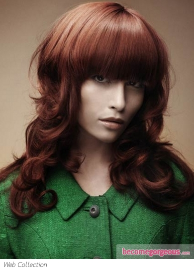 Long Blunt Bangs Red Hair Style