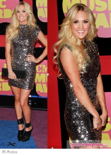 Carrie Underwood in Randi Rahm Sequin Dress